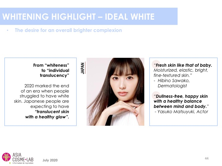 Asia Cosme Lab Whitening in 2020 trend report extract 6