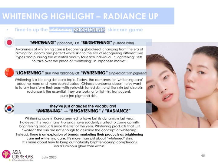 Asia Cosme Lab Whitening in 2020 trend report extract 8